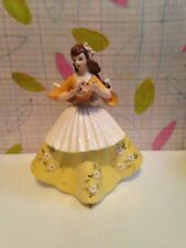 "Vintage Lefton girl figurine Woman figure flowers floral yellow dress apron 6"""