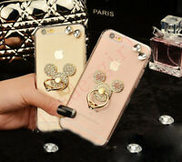 Bling Cute Ears Diamond Stand Rhinestone Crystal Clear Back Case For Cell Phones