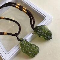 Natural Crystal Green Gem Moldavite Meteorite Glass Necklace Pendant Stone