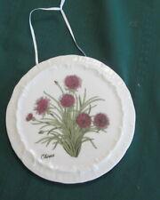Andrea by Sadek Chives Decorative Plate Trivet Porcelain Vintage Herb Chive