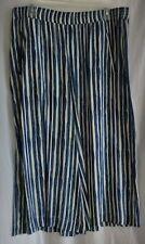 Cato Blue and White Striped Rayon Elastic Waist Pants Size Large EUC