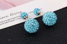 Bridal Sterling Silver Gold Double Ball Shamballa Stud Earrings Ear Rings 16MM