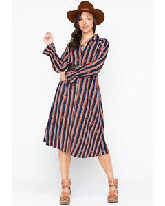 Miss Me Womens Sz Small Boho Striped Button Down Shirt Dress Hippie Cruise Wear