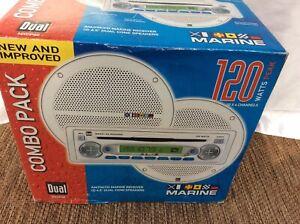 New! Marine AM/FM/CD Dual MXCP40 Radio Receiver 120 Watts Combo Pk w/2 Speakers