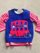 BNWT NEXT Blue Red Bus Long Sleeved Top & Tank Top Set 3-6 Months