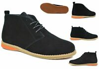 Men's Hi Top Suede Leather Lace Up Desert Boots Casual Smart Shoes Size 6 to 11