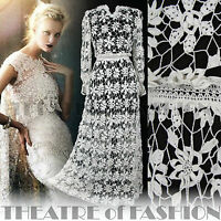 VINTAGE 70s DRESS LACE CROCHET WEDDING 6 8 10 12 14 16 60s BOHO VICTORIAN 30s