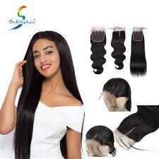 "Brazilian Body Wave/Straight 100% Human Hair 4x4"" Lace Closure 10-14"" Three Part"