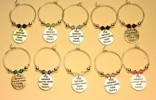 10 Wine Glass Charm Rings WELL BEHAVED WOMEN with SWAROVSKI Hen Party Wedding