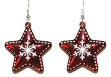 RED & WHITE CHRISTMAS SNOWFLAKE STAR DANGLE EARRINGS (H115)