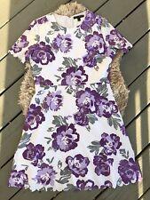 Banana Republic Womens Purple Floral Print Scallop Sleeve Dress Size 8 Shift