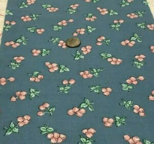 "Pink & Green Fruit Clusters & Leaves on Slate Blue * 100% Cotton Remnant 21""x8"""