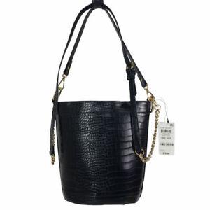 New INC Bucket Bag Ajae Croco Embossed Crossbody Handbag - Black