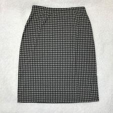 Axcess Liz Claiborne Womens M Black White Geometric Pencil Skirt Side Slit