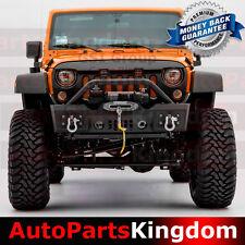 07-17 Jeep JK Wrangler Stubby Rock Crawler Front Bumper+Winch Plate+Textured BLK