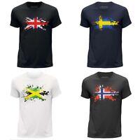 MEN'S T-SHIRT NATION COUNTRY FLAG SPLAT DESIGN PATRIOTIC ROUND NECK CLOTHING