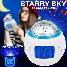3D Star Sky Projection Music LED Alarm Clock Night Light Thermometer Gift