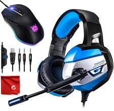 ONIKUMA K5 Blue LED Gaming Headset and 8000DPI Mouse for PC, Mac, Laptop Desktop