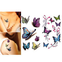 3D Tattoo Decals Waterproof Temporary Stickers Butterfly Patterns Body Art FLA