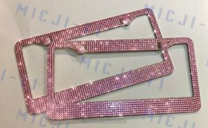 X2 Pink Rose Crystals License Plate Frame Holder Made with Bling Crystals Gem