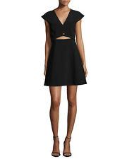 HALSTON HERITAGE Cap Sleeve Crop Top Black Dress Turn-lock Size 8 NWT $345