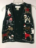 Susan Bristol Christmas Holiday Dogs & Cats Knit Casuals Sweater Vest PP