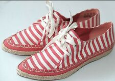 CLARKS CORAL LOVE CANVAS WOMENS UK 5 D TEXTILE UPPER RED & WHITE SHOES