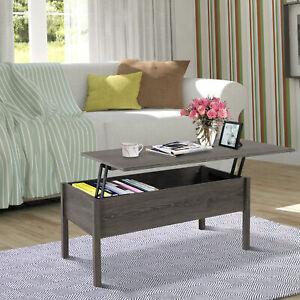 Modern Lift Top Coffee Table with Hidden Storage Floating Extendable Desk Tan