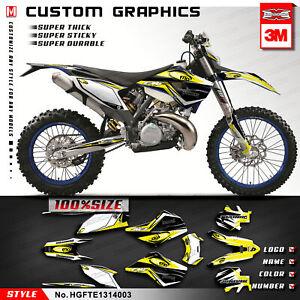 Kungfu Graphics Custom Sticker MX Decal Kit for 2013 2014 Husaberg TE FE Yellow