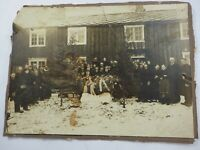 Villagers Gathered for a Funeral Stordalen Norway Cabinet Card 7 x 9.5 circ1890
