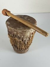 Vtg American Southwest Style Wood Hide Drum with Drum Stick