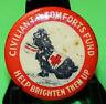 Vintage Tin Badge Pin Back Civilian T.B. Comforts Fund Help Brighten Them Up 120