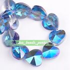 10pcs 14x9mm Faceted Heart Crystal Glass Charms Spacer Beads Blue Colorized