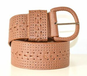 CINTURA donna MARRONE CUOIO cinturone eco pelle treccia belt ceinture пояса Z10