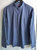 Untuckit Mens Blue Banded Collar Slim Fit Houndstooth L/S Button Shirt Large