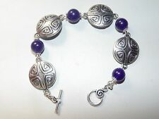 Celtic style Shield Bracelet with 10 mm Amethyst - BN - Pagan