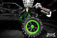 TRAXXAS X-MAXX CHASSIS / SHOCK TOWER HOP UP 'MACHINEHEAD' GRAPHICS DECALS GREEN