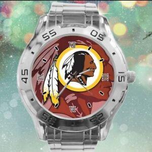 NFL (WASHINGTON REDSKINS) NEW CUSTOM CASUAL STAINLESS STEEL WRIST WATCH NEW