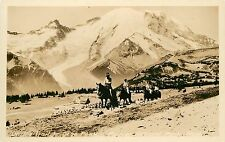 1930s RPPC Postcard; Pack Train in Trail to Dege Peak, Rainier National Park WA