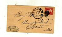 ST. NICHOLAS BANK,BLUE OVAL HANDSTAMP,NEW YORK CITY TO DETROIT,DEC 22 1850s, #26