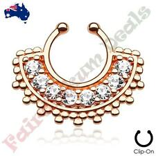 Piercing Septum Hanger with Clear Gems Large Rose Gold Ion Plated Fan Non