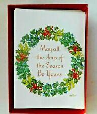 Vintage Boxed Christmas Cards 17 Wreath Marian Heath Joys of the Season