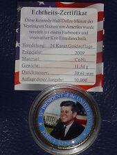 Münze - John F. Kennedy 1/2 Dollar mit 24 Karat Gold und Farbapplikation