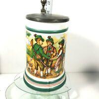 Vtg Original BMF Mug Bierseidel Pewter Lidded Beer Stein Colorful Germany C2