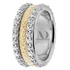 Two Tone Women's Diamond Wedding Band 10K Gold Diamond Ring 1.80Ctw 8mm