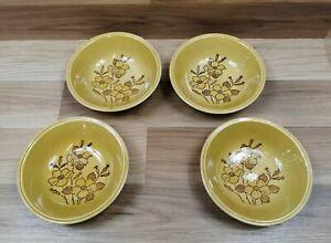 """4 x Vintage / Retro Biltons Honey Glazed Floral Pattern 6.5"""" Cereal Bowls"""