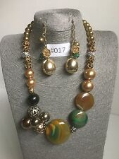 #017 UK Modern Statement Gold Necklace Chunky Beaded Jewellery Long Earrings