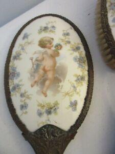 Vintage Porcelain Brush + Mirror Cherub Blue Flowers