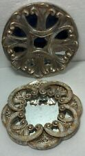 """Pair Wood (ceramic?) mirrored round wall hangings. Both approx 8"""" dia Distressed"""