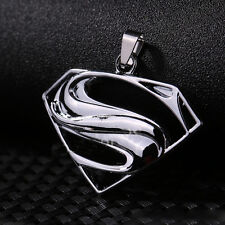 New Unisex's Men Silver Superman Pendant Stainless Steel Beads Chain Necklace